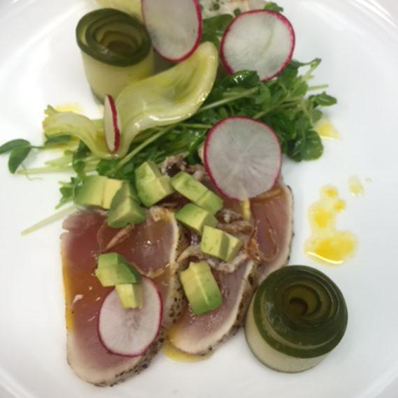 Albacore tuna tataki and King crab salad